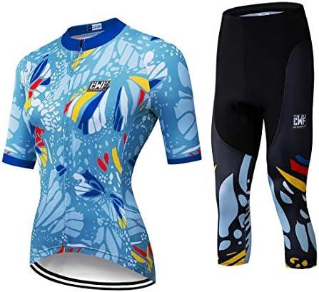X-Labor Damen Radtrikot Set Schnell Trockend Radtrikot 3/4 Kurzarm Jersey + 3/4 Lange Radhose mit 3D Sitzpolster Fahrradbekleidung