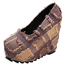 WuyiMC Women's Thick-Soled Wedge Shoes Hingh Heel Single Shoes
