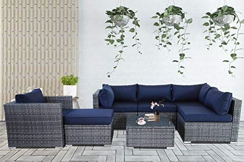 Patio Conversation Furniture Set 7-Piece Gray PE Wicker Navy Cushion Fashion Color Rattan Sofa Outdoor Seating