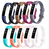 Fitbit Alta HR Bands, AK Newest Fitbit Alta HR Band Replacement Wristband Strap with Secure Metal Buckle for Fitbit Alta HR /Fitbit Alta (10 color/Pack, Large)
