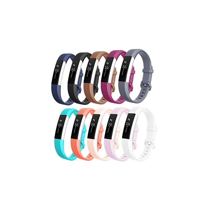 AK for Fitbit Alta Bands/Alta HR Bands (10 Pack), Replacement Bands for Fitbit Alta/Alta HR with Metal Clasp (10 Color/Pack, Small)