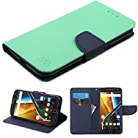 Asmyna Cell Phone Case for Motorola G4 Plus - Teal Green Pattern/Dark Blue Liner