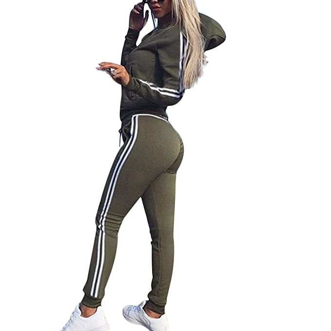 8e5df6234897 VERYCO Women Tracksuit Zipper Hoodie Sweatshirt Sweatpants Casual Sports Set  - 3 Colors Black Green Red  Amazon.co.uk  Clothing