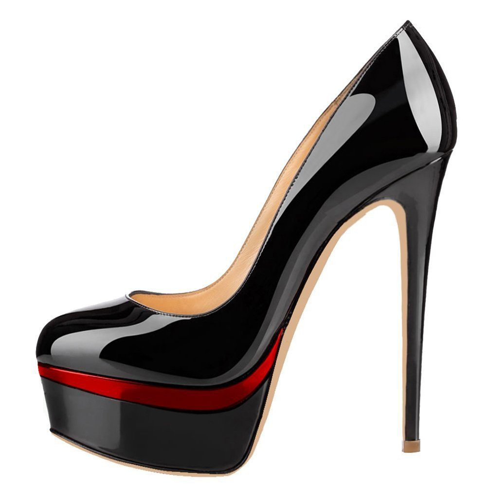 merumote女性のハイヒールパンプスプラットフォームシューズパーティードレスNight Out B0787FZRRD 40 EU | 9 US|Black With Red Platform Black With Red Platform 40 EU | 9 US