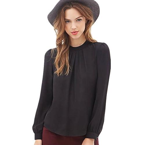 Mujeres blusa camiseta ropa, RETUROM Nueva blusa de la camisa de la manga de la gasa ocasional del d...