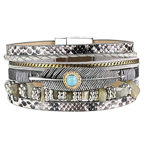 - AZORA Womens Leather Cuff Bracelet Multi Strands Lucky Feather Wrap Bracelets Turquoise Stone Strand Bangle Jewelry Birthday Gift for Women Teen Girls Boys Prime