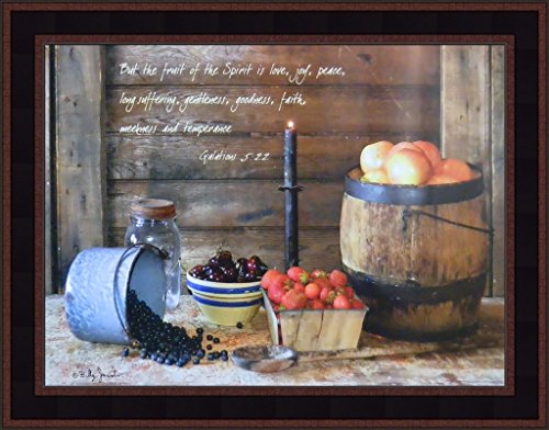 Fruit Of The Spirit by Billy Jacobs 15x19 Galatians 5:22 Religious Kitchen Blueberries Apples Cherries Strawberries Primitive Folk Art Framed Print (Folk Art Fruit)