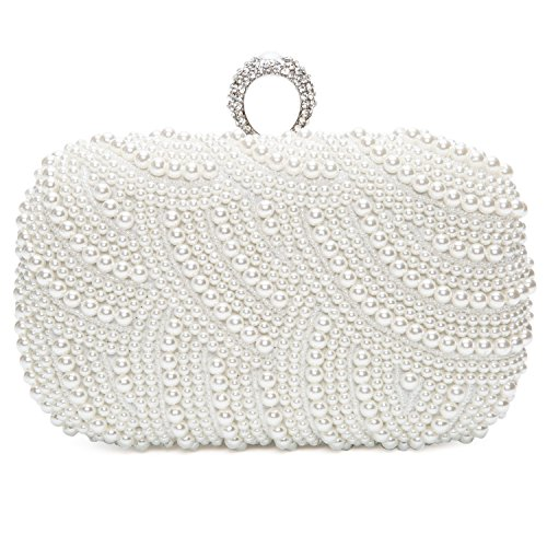 Chichitop Womens Luxury Special Crystals Beaded Pearl Evening Clutch Bag,White