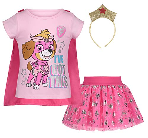 (922961PAT) Paw Patrol Toddler Girls Sky Cosplay Costume Skirt Set with Cape and Tiara in Pink, 2T]()
