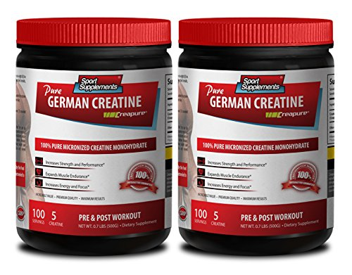 Lean muscle builder - GERMAN CREATINE POWDER - MICRONIZED CREATINE MONOHYDRATE CREAPURE - 500G - 100 SERVINGS - Pre workout powder - 2 Cans