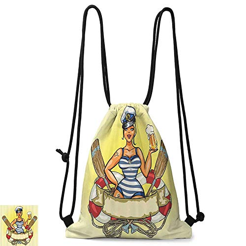 Swimming backpack Girly Decor Pin Up Sexy Sailor Girl in Lifebuoy with Captain Hat and Costume Glass of Beer Feminine Design W14