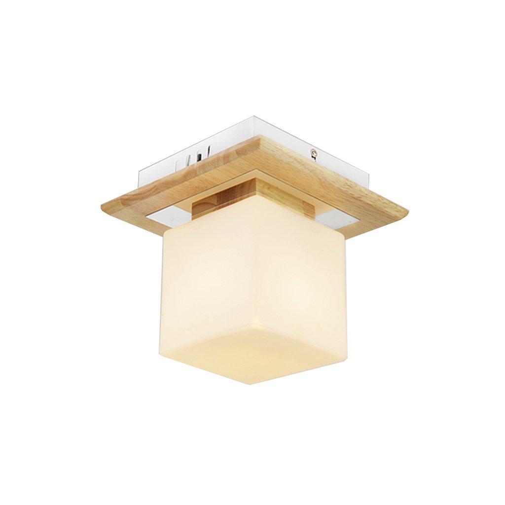 Ceiling Light Korean style Simple Solid wood bedroom Creative rectangle led Square living room Restaurant lights Wood light Single head #Ceiling chandelier (Color : LED White light)