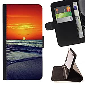 For HTC DESIRE 816 Case , Sunset Beautiful Nature 86- la tarjeta de Crédito Slots PU Funda de cuero Monedero caso cubierta de piel
