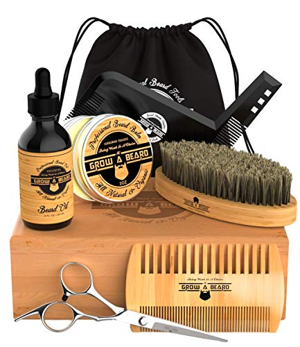 Premium Beard & Mustache Grooming Kit for Men | 2oz Sandalwood Balm, 2oz Unscented Oil, Boar Bristle Brush, Double Action Comb, Barber Scissors, Shaping Tool | Presented in Deluxe Gift Bamboo Box.