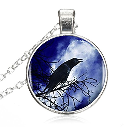 (Adjustable Sterling Silver Necklace Fashion Halloween Black Raven Vintage Alloy Pendant Glass Necklace Choker Silver Plating Chain Glass Cabochon)