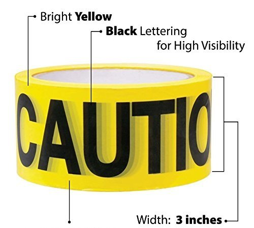 Comfitwear High-Visibility 'Caution' Safety Tape, 3'' X 1000' Roll