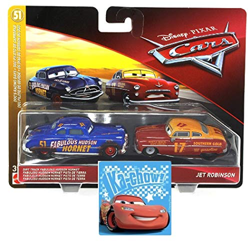 Disney Pixar Cars Dirt Track Fabulous Hudson Hornet and Jet Robinson 2 Pack & One Bonus Cars Sticker (Styles Vary) 2 Items Bundle