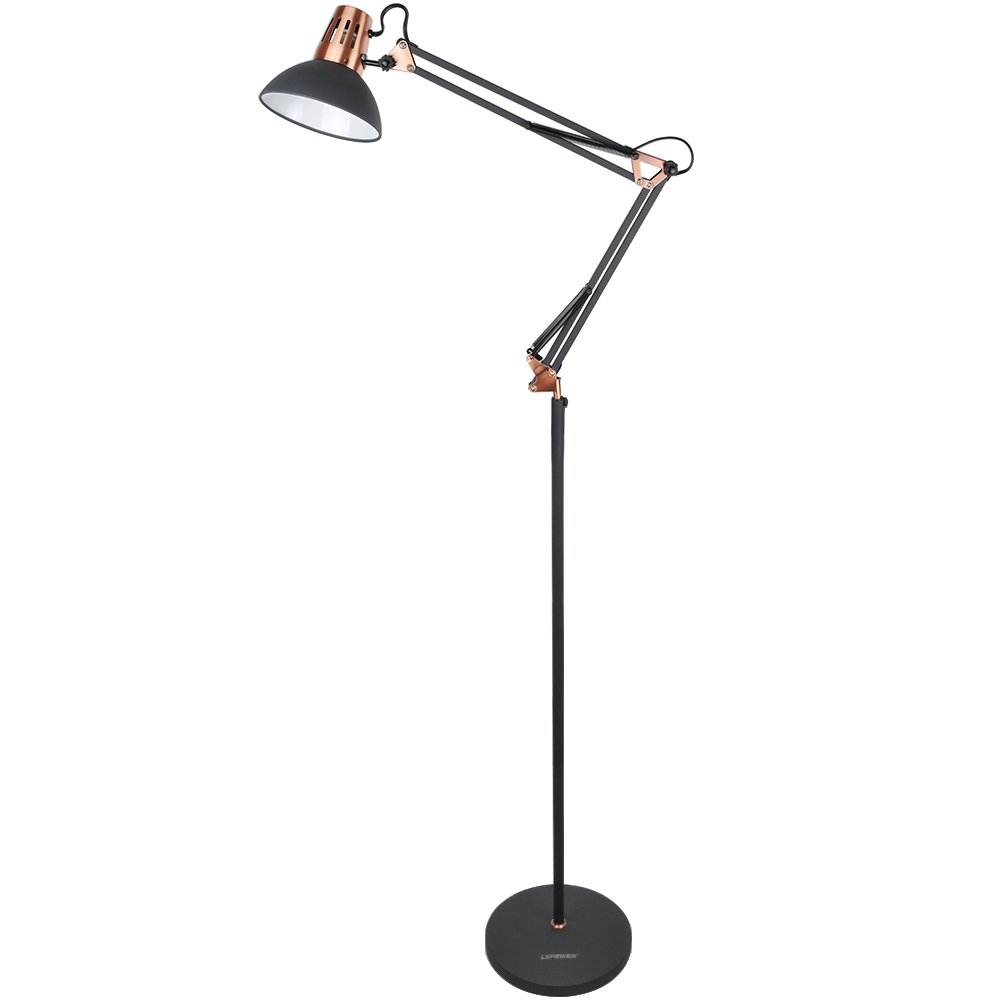 LEPOWER Metal Floor Lamp, Architect Swing Arm Standing Lamp with Heavy Duty Metal Base, Adjustable Head Reading Light with On Off Switch for Living Room, Bedroom, Study Room and Office