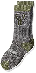 2 Pack Huntworth Boy\'s Merino Wool Blend Sock, Olive, Small