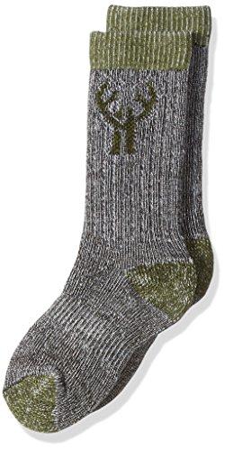 2 Pack Huntworth Boy's Merino Wool Blend Sock, Olive, Small