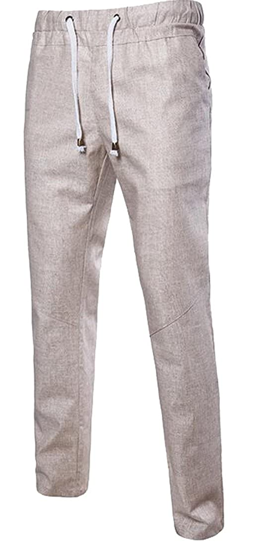 SHOWNO Mens Classic Drawstring Waist Solid Loose Jogger Pants Sweatpants