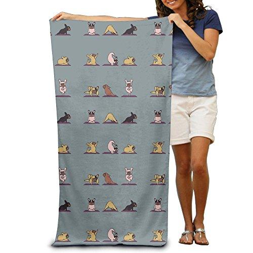 French Beach Towel - Yisliferunaz Cartoon Yoga Dog French Bulldog Puppy Beach Towels Luxurious 100% Polyester Swim Bath Sheets Large Towel For Beach Blanket Cover Tent Floor Yoga Mat 31.5