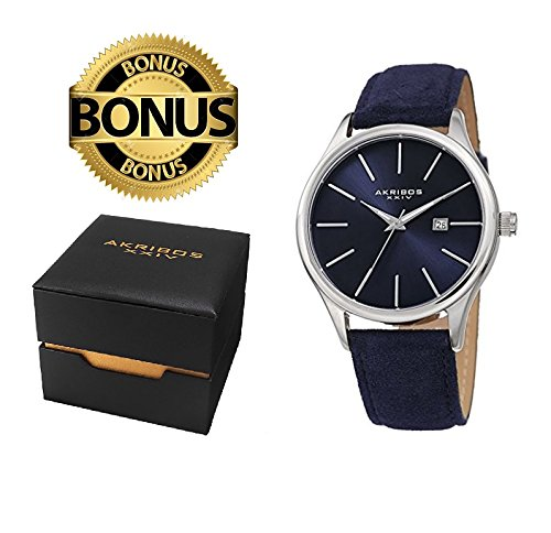 Akribos XXIV Men's AK1019BU Classic Watch With a Beautiful Silver & Blue Sunray Dial, Comfortable Suede Leather Strap Packed In a Beautiful Gift Box (Polished Case Leather Strap)