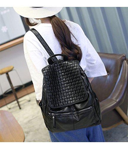 Wewod Mujeres Mochilas Hipster de Escolares Niña Patrón de Tejer Mochilas Tipo Casual Bolso de Escuela de PU Cuero 27 x 30 x 13 cm (L X H x W ) Negro