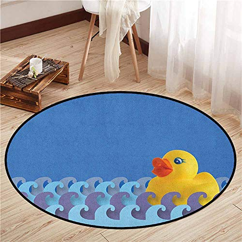 (Non-Slip Round Rugs,Rubber Duck,Rubber Duck Floating on Paper Seem Water Waves Bathroom Time Childcare Image,Rustic Home Decor,4'3
