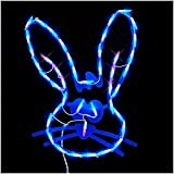 18' LED Lighted Easter Bunny Head Window Silhouette Decoration Indoor and Outdoor Use (BLUE)