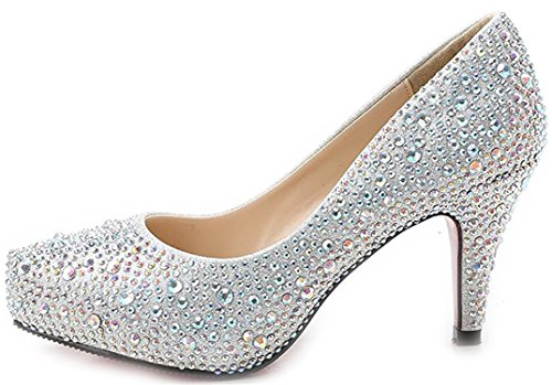 bangfox New Arrival Closed Toe Wedding Stiletto Heels Rhinestones Stud Bridal Platform Pump silver87 B(M) US - New Costco Arrivals