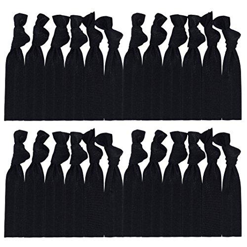 Bulk Hair Ties Knotted Ribbon Elastic Ponytail Holders - 25 Count (Black)