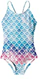AIDEAONE Big Girls One Piece Mermaid Swimsuit Cute Swimming Bathing Suit 7T 8T Cross or Parallel 2 Way Wear
