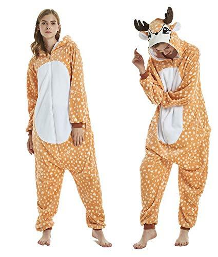 RECM Unisex Adult Elk Deer Pajamas Cosplay Costumes for Women Sleepwear L