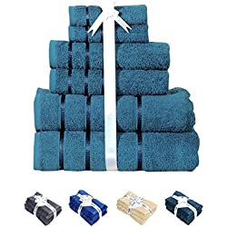 HILLFAIR 600 GSM Luxury 100% Cotton 6 Piece Bath Towel Set (TEAL GREEN), Hotel Spa Towels;Turkish Cotton Quality; 2 Bath Towels, 2 Hand Towels, 2 Washcloths, Long-Staple Combed Cotton, Extra Soft