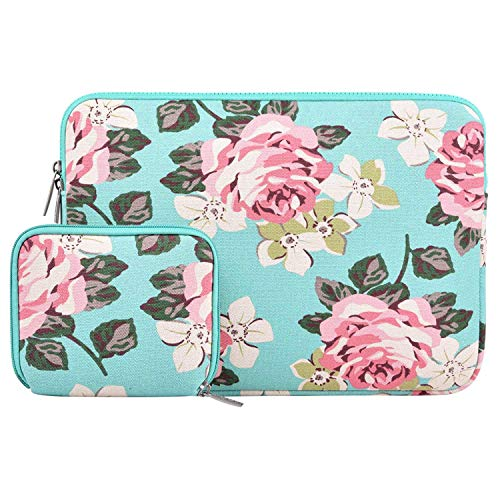 (MOSISO Laptop Sleeve Bag Compatible 15-15.6 Inch MacBook Pro, Notebook Computer with Small Case, Canvas Fabric Rose Pattern Protective Carrying Cover, Hot Blue)