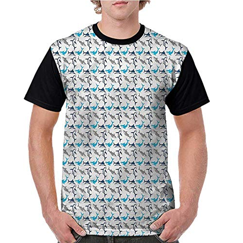 Men's Short Sleeve,Shark,Retro Style Silhouettes S-XXL Casual ()