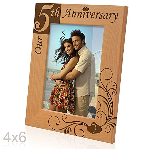 Kate Posh - Our 5th Anniversary Wooden Picture Frame (4x6 Vertical) (Fifth Anniversary Gift Traditional)
