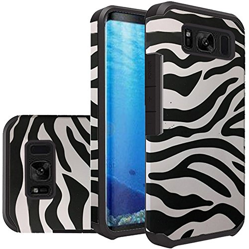 Samsung Galaxy S8 Case, Samsung S8 Case, Slim Hybrid Dual Layer Shockproof Armor Rubberized Matte Beautiful Design Cover Case(Zebra) (Cover Zebra Rubberized Case)
