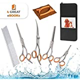 AEXYA Premium Dog Grooming Scissors Kit - Pet Groom Hair Tool Set Stainless Steel - Straight, Thinning and Curved Sharp Shears for Small or Large Dogs, Cats or Other Pets