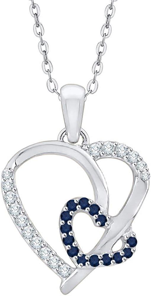 KATARINA Collar con colgante de corazón doble de zafiro y diamante en oro o plata (1/6 cttw, J-K, SI2-I1)