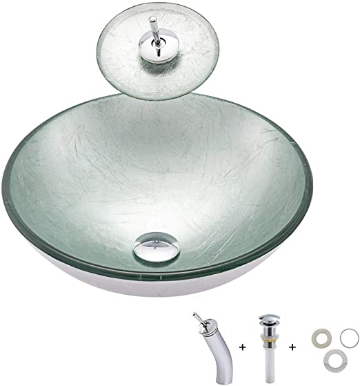 UK Hand Paint Colorful Tempered Glass Vessel Sink Basin Brass Waterfall Taps