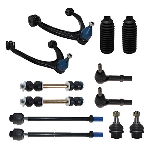 Detroit Axle - 12-Piece Front Suspension Kit - Torsion Bar Only - 2 Upper Control Arm & Ball Joints, 2 Lower Ball Joints Fit Steel Control Arms Only, All Inner & Outer 4 Tie Rod, 2 Front Sway Bars (A-arm Kit)