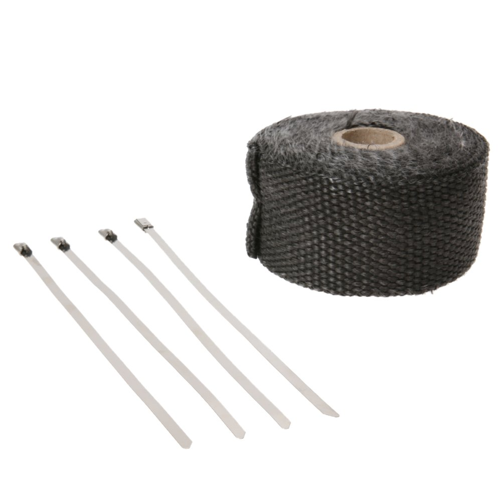 UEB 5Mx5CM Heat Exhaust Pipe Header Heat Wrap Resistant Fireproof Insulating Cloth For Motorcycle Car With 4 Stainless Steel Tie
