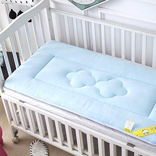 - D&LE Baby Mattress, Thicken Crib Mattress Topper Foldable 4cm Breathable Soft Reversible Mattress-Blue 56x100cm