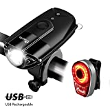 USB Rechargeable Bicycle Light Set, Megulla Bike Front and Rear Lights, 800 Lumens Ultra Bright, IP65 Waterproof, Easy to Install and Removal, for Mountain Road, Kids and City Bicycle