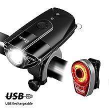 LED Bike Headlight Taillight Combo, Megulla USB Rechargeable Bike Light Set, 800 Lumens Super Bright Bicycle Lights, Bike Headlight, IP65 Waterproof, Free Tail Light and Helmet Mount Included