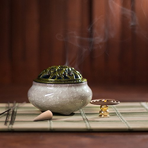 UINSOO Ceramic Incense Burner (For Sticks, Cones or Coils Incense) with Fireproof Cotton (Ice fissure diamond ash)