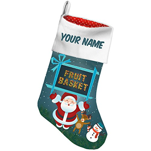 Christmas Stocking Fruit Basket Mixed Fruit Healthy,Colorful Xmas night NEONBLOND