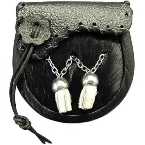 - Tartanista Babies Black Cowhide Sporran With Shaped Flap & Tassels